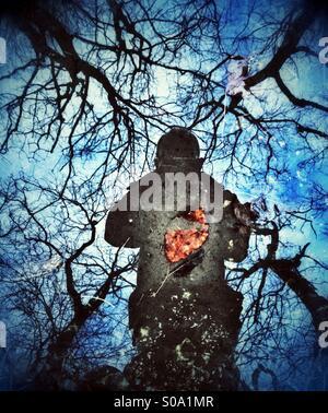Fotograf, spiegelt sich in der Pfütze, umgeben von Bäumen - Stockfoto