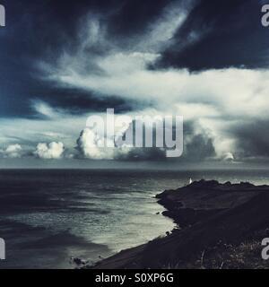 Start Point Leuchtturm an einem stürmischen Tag, South Devon - Stockfoto