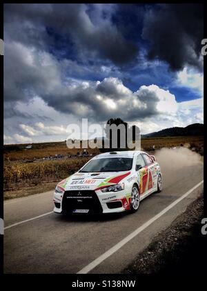 2015 WRC Rally RACC Rally de España SS21 Guiamets 2 [Els Guiamets] Joao Ramos/Jose Janela - MITSUBISHI Lancer Evo - Stockfoto