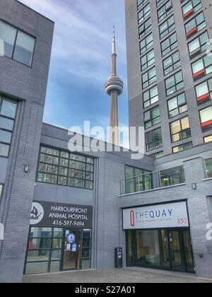 Ein Blick auf den CN Tower zwischen den Gebäuden entlang der Uferpromenade in Toronto. - Stockfoto