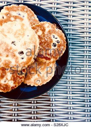 Walisischen Kuchen, der auch als bratpfanne Steine bekannt. - Stockfoto