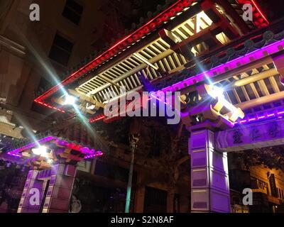 In Chinatown Gate, San Francisco, Kalifornien, USA, nachts - Stockfoto