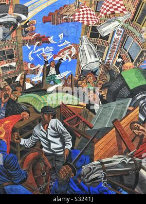Detailbereich des Wands Cable Street, das an die Unruhen zwischen der Faschistenpartei von Oswald Moseley, Sozialisten, Gewerkschaftern, der örtlichen jüdischen Bevölkerung und der Polizei vom 04.10.1936 erinnert.