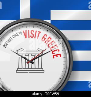 Die beste Zeit für den Besuch in Griechenland. Weiße Uhr mit Motivations Slogan. Analog Metall mit Glas. Abbildung auf griechische Flagge Hintergrund. Parthenon