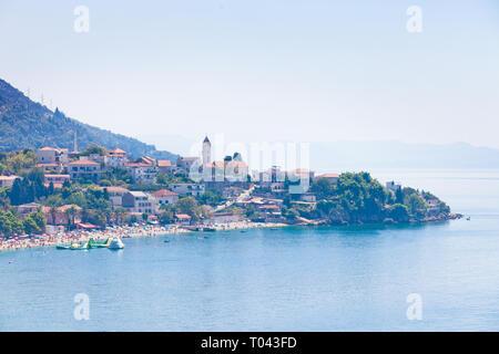 Korcula, Dalmatien, Kroatien, Europa - August 24, 2017 - Luftbild nach Baden in der Bucht von Vela Luka - Stockfoto