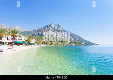 Korcula, Dalmatien, Kroatien, Europa - Übersicht über den schönen Strand von Gradac. - Stockfoto
