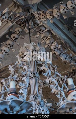 Kostnice, Knochen Kirche (Beinhaus), viele menschliche Schädel und menschliche Knochen in Kompositionen angeordnet. Sedlec ein Vorort von Kutna Hora, Tschechien. - Stockfoto