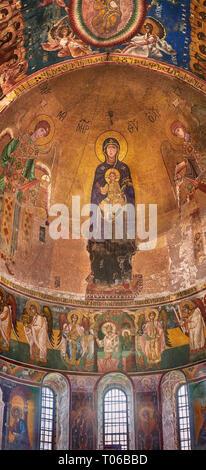 """Fotos & Bilder der byzantinischen Mosaik der """"Theotókos"""", mit der Darstellung der Jungfrau Maria, der Mutter Gottes, und das Kind, 1126-1130, in der Apsis der Gelati"""