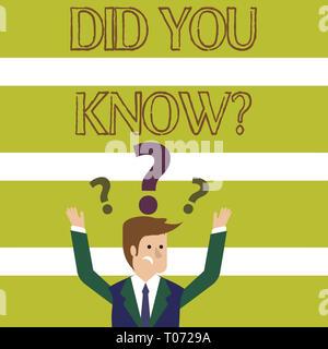 Wort schreiben Text Wussten Sie, Frage. Business Foto präsentieren, wenn Sie jemand sind, der fragt, ob Sie Tatsache oder ein Ereignis verwirrt Geschäftsmann Heben wissen - Stockfoto