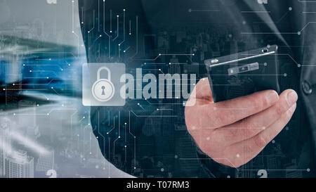 Cyber Security Datenschutz Business Technology Datenschutz Konzept.