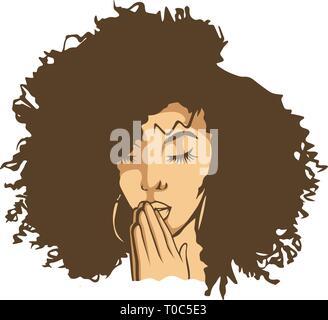 Ballerina Tänzerin athletische Frau Sport schwarz Afro Frau Yoga entspannende Krankenschwester Retro Frau zu beten Gott religiöse Warrior Fighter Edel starke Frauen - Stockfoto