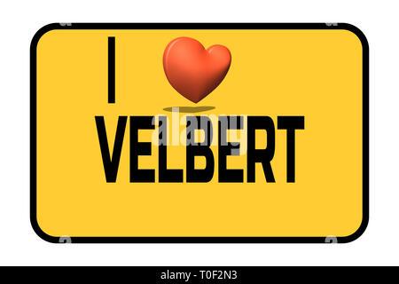 Stadt eingang Schild mit Beschriftung in Deutsch - ich meine Stadt Velbert, und das Herzsymbol Liebe - Stockfoto