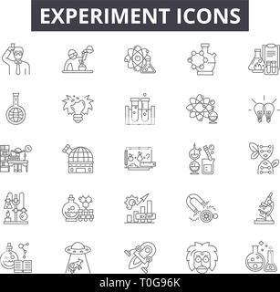 Experimentieren Sie Zeile für Symbole für Web und mobile Design. Editierbare Schlaganfall Anzeichen. Experiment Entwurfskonzept Abbildungen - Stockfoto