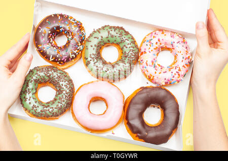 Weibliche Hände box Holding mit Donuts. Bunte Donuts im Pastell gelb Hintergrund - Stockfoto