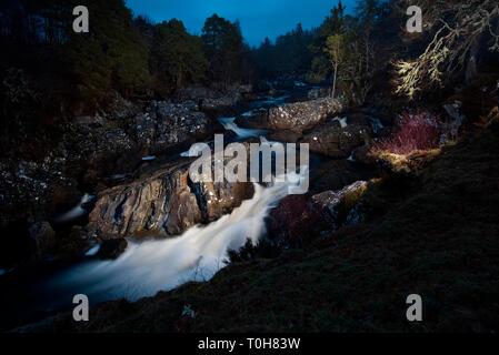 Achness Wasserfall, Glen Cassley, Sutherland - Stockfoto