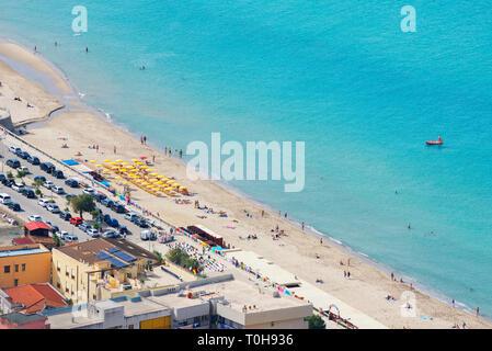 Stadt Strand, Cefalu, Sizilien, Italien, Europa - Stockfoto