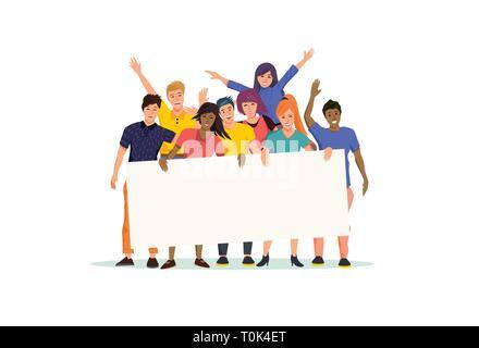 Ein glücklich und aufgeregt, Gruppe von jungen Menschen mit einer leeren Schild. Vector Illustration. - Stockfoto