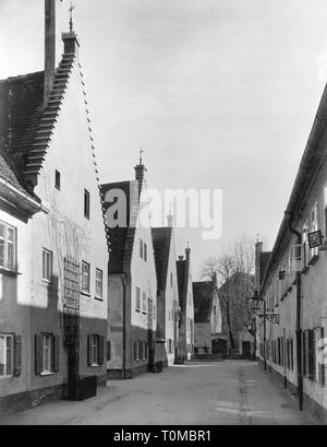 Geographie/Reisen, Deutschland, Augsburg, Fuggerei, Aussicht, Herrengasse, 1950er Jahre, Additional-Rights - Clearance-Info - Not-Available - Stockfoto
