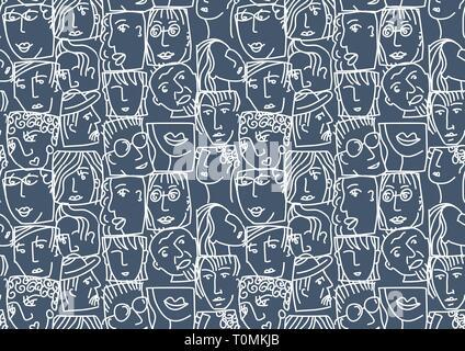 Menschen abstrakte Gesichter Avatare Zeichen invertieren nahtlose Muster - Stockfoto