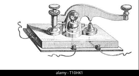 Post, Telegrafie, Fernschreiber Schlüssel von Samuel Morse, 1837, Artist's Urheberrecht nicht geklärt zu werden. - Stockfoto