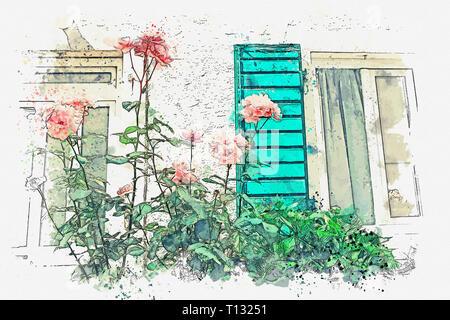 Aquarell Skizze oder Abbildung: einen schönen Blick auf die blühende Strauch aus Rosen neben dem Apartment Gebäude. - Stockfoto