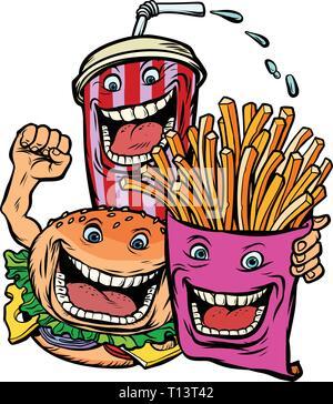 Burger Cola trinken Pommes frites Kartoffeln. Fast food Zeichen Freunde Mittagessen - Stockfoto