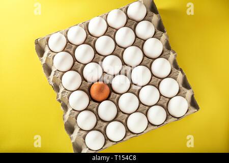 Weiß frischen Hühnereiern und ein braunes Ei in einem Karton auf gelbem Hintergrund. Ansicht von oben mit der Kopie. Gesunde Ernährung Konzept. Selektive so - Stockfoto