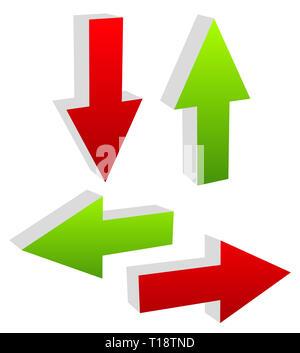 3D grünen und roten Pfeilen, die in unterschiedliche Richtungen zeigen. Oben Vektor unten, Pfeile links und rechts illustration - Stockfoto
