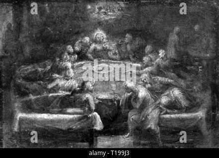 """Religion, Christentum, Jesus Christus, Abendmahl, """"Das Letzte Abendmahl"""", Malerei, Deutschland, um 1600, Artist's Urheberrecht nicht geklärt zu werden. - Stockfoto"""