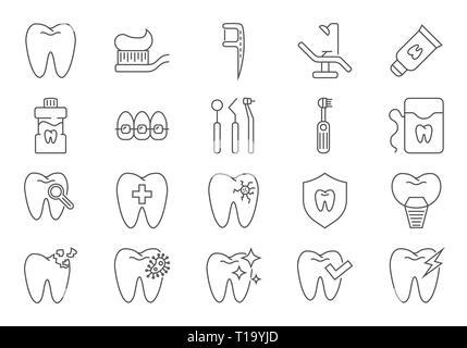 Zahnmedizinische Symbole gesetzt. Zahnmedizinische ergänzende Vektor Zeile für Symbole gesetzt. Auf weissem Hintergrund. Editierbare Schlaganfall. - Stockfoto
