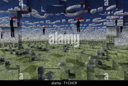 Surreale digitaler Kunst Männer mit roten Schirme schwebt über Feld der Glühlampen. Wolken in der Form von Frage zu unterzeichnen. Glühbirnen symbolisiert Ideen - Stockfoto