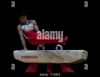 Kazuma Kaya (Japan), die in Aktion während der Gymnastik WM2019 in Genting Arena Birmingham Vereinigtes Königreich am 23. März 2019. GlennSports. - Stockfoto