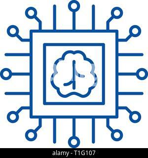 Künstliche Intelligenz Technologien Symbol Leitung Konzept. Künstliche Intelligenz Technologien flachbild Vektor Symbol, Zeichen, umriss Abbildung. - Stockfoto