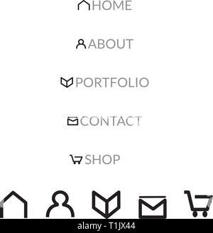 Web Seite die Symbole für Home, Über, Portfolio, Kontakt & Shop - Stockfoto