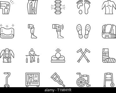 Einstellen der medizinischen Rehabilitation und orthopädische Zeile für Symbole. - Stockfoto