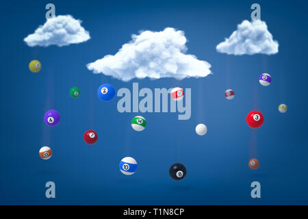3D-Rendering von snooker Kugeln fallen aus drei flauschigen weissen Wolken im blauen Himmel. - Stockfoto