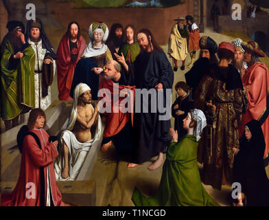 Die Auferweckung des Lazarus 1480 von Geertgen Tot Sint Jans oder Gerard de Sint Jean 1455-1495, Niederländisch in den Niederlanden. - Stockfoto