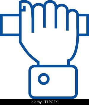 Ziehen hand Symbol Leitung Konzept. Ziehen hand Vektor Symbol, Zeichen, umriss Abbildung. - Stockfoto