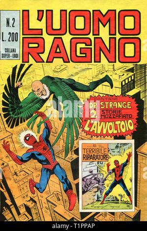 Italien - 1970: Erste Ausgabe des Comic Marvel Bücher, Deckel des Amazing Spider-Man, L'Uomo Ragno - Stockfoto