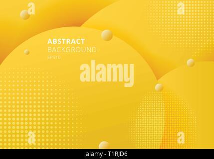 Abstrakte 3D-Flüssigkeit Flüssigkeit Kreise gelber Senf Pastell Farbe schönen Hintergrund mit halftone Textur. Vector Illustration - Stockfoto