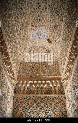 Arabesque Mudjar Putzarbeiten im Vestibül von Don Pedro's Palace, in 1366 abgeschlossen. Alcazar von Sevilla, Sevilla, Spanien - Stockfoto