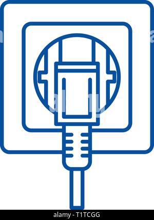 Buchse Symbol Leitung Konzept. Buchse flachbild Vektor Symbol, Zeichen, umriss Abbildung. - Stockfoto