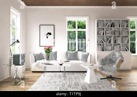 Stilvolle Möbel in hellen Wohnzimmer Konzept mit altmodischen dekorative TV-Set, weiß Schrank mit Bücherregalen, Sessel mit Tisch und - Stockfoto