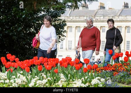 Badewanne, Somerset, UK, 29. März, 2019. Die Menschen genießen die warme Sonne abgebildet vorbei gehen. bunte Tulpen in Royal Victoria Park. Credit: Lynchpics/Alamy leben Nachrichten - Stockfoto
