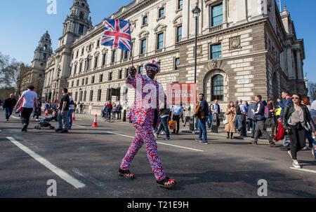 London, Großbritannien. 29 Mär, 2019. BREXIT Proteste am Tag im Vereinigten Königreich war, Europa zu verlassen, in Central London, England am 29. März 2019. Foto von Andy Rowland. Credit: Andrew Rowland/Alamy leben Nachrichten - Stockfoto