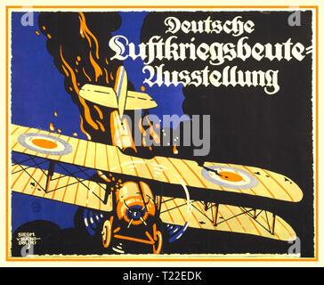 """Vintage WK1 Deutsche Propaganda Poster mit einem brennenden British biplane stürzt zu Boden. 'Deutsche Luftkriegsbeute diplomprojekt """"DEUTSCHE ANTENNE DEMONSTRATION anzeigen' - Stockfoto"""