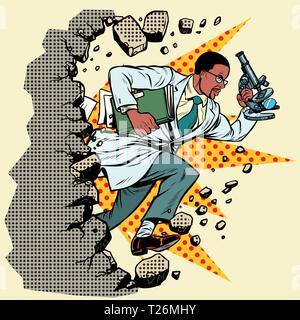 Afrikanische Wissenschaftler mit Mikroskop bricht eine Mauer, zerstört die Stereotypen. Vorwärts bewegen, persönliche Entwicklung. Pop Art retro Vektor illustration Vintage - Stockfoto