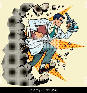 Wissenschaftler mit Mikroskop bricht eine Mauer, zerstört die Stereotypen. Vorwärts bewegen, persönliche Entwicklung. Pop Art retro Vektor illustration Vintage kitsch - Stockfoto