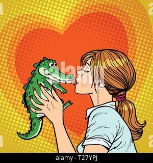 Mama küsse Krokodil, freches baby Konzept - Stockfoto
