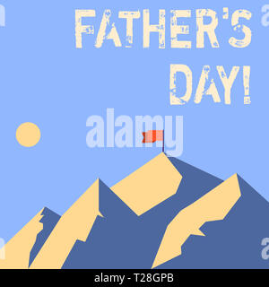 Wort schreiben Text Vater s Tag. Business foto Präsentation Tag des Jahres, in der Väter vor allem durch Kinder Berge sind mit Shadow Indica geehrt - Stockfoto